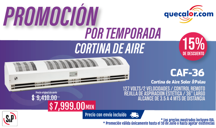 PROMO CORTINA AIRE SOLER CAF36